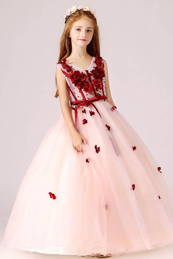 Ball-Gown V-neck Flower Girl Dress with Bow(s) Sash
