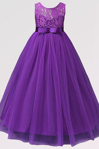 Ball Gown Sleeveless Lace Flower Girl Dresses with Sash