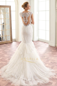 Trumpet/Mermaid Lace and Stratified Layers Wedding Dresses