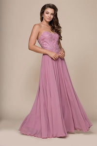 A-line/Princess Strapless Beading Long Formal Prom Dresses with Lace Applique