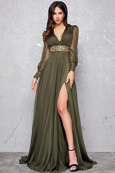 Sexy V-Neck Long Sleeves Prom Dresses with Beading & Slit