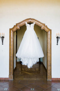 A-line/Princess Sweetheart Lace Bodice Sleeveless Tulle Wedding Dresses
