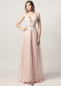 A-Line/Princess V-neck Court Train Chiffon Bridesmaid Dress With Beading