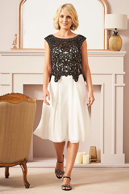 Elegant Beading Knee-length Mother of the Bride Dresses