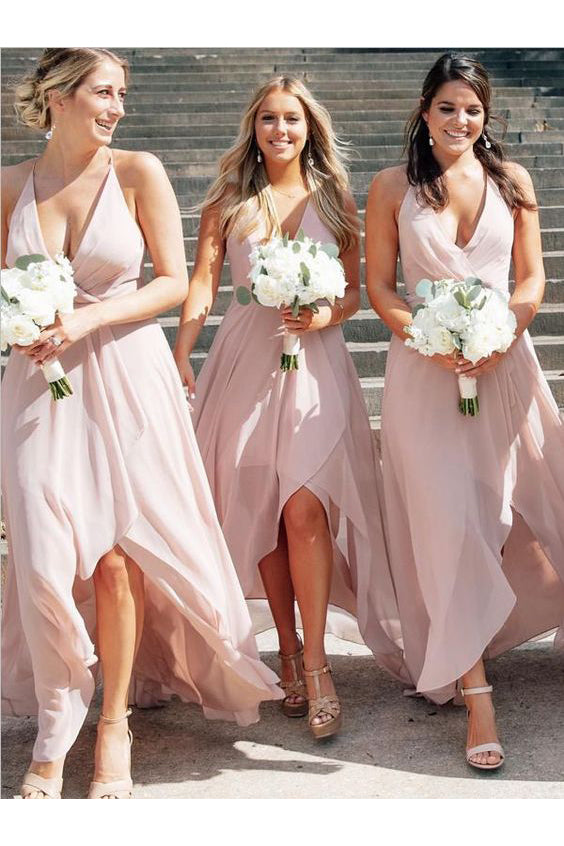 Chiffon V-Neck High Low Backless Pink Bridesmaid Dress