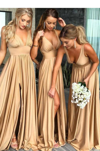 Sexy Side Split V-Neck Bridesmaid Dresses