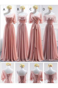 Chiffon Sheath Long Bridesmaid Dresses with Sash