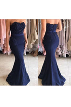 Dark Navy Mermaid Strapless Evening Dress with Sweep Train