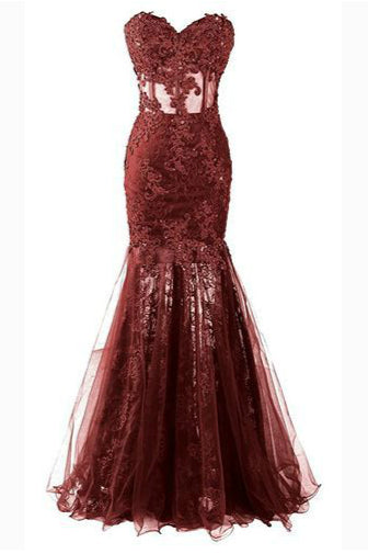 Sexy Mermaid Sweetheart Evening Dresses with Lace