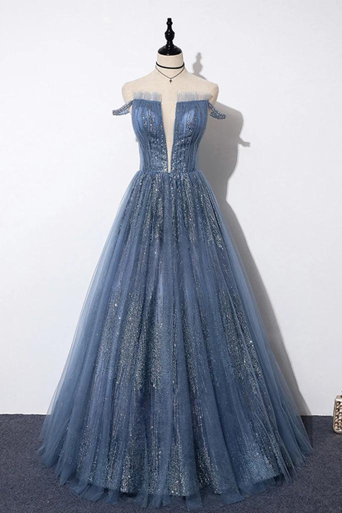 New Arrival Sequins Tulle Off-the-shoulder Floor Length Evening Dress