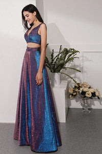 Glitter Knit Fabric Two Piece Long Evening Dresses