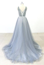 Simple Lace A-line Tulle Long Prom Dress with a Train