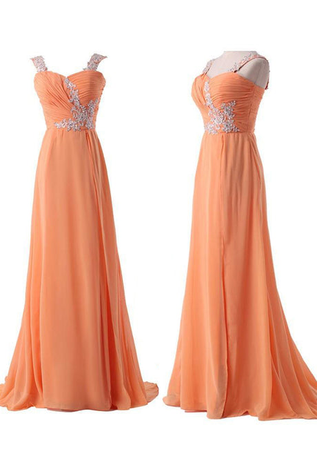 Chiffon A-Line Backless Prom Dress with Lace-Up