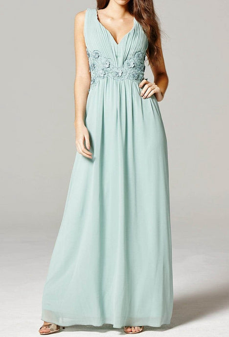 Sleek Chiffon V-Neck Prom Dresses with Lace Embroidery