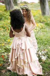 A-line/Princess Layers Flower Girl Dresses with Tiered Skirt in Satin Faced Chiffon