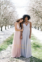 A-line Deep V-Neck Long Chiffon Bridesmaid Dresses with Spaghetti Straps