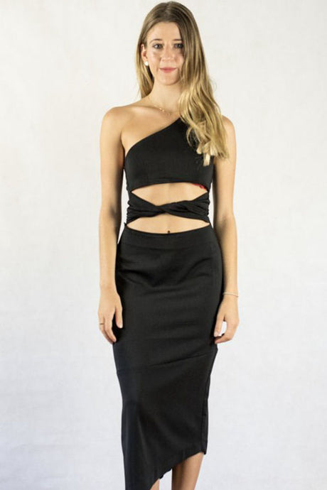 Sexy One Shoulder Asymmetric Hem Cocktail Dresses with Tie Detailing