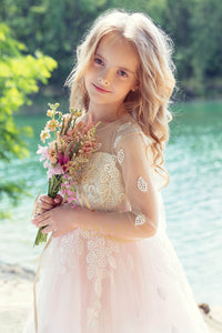 A-Line Flower Girl Dresses with 3/4 Illusion Lace Sleeves