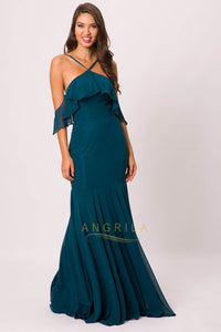 Sheath/Column Chiffon Prom Dress with a Lightly Frilled on the Collar and Sleeve