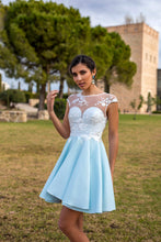 Colored A-line/Princess Cap Sleeves Short Satin & Lace Formal Prom Dresses