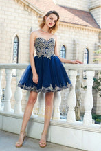 A-line/Princess Strapless Sweetheart Beading Short Formal Prom Dresses