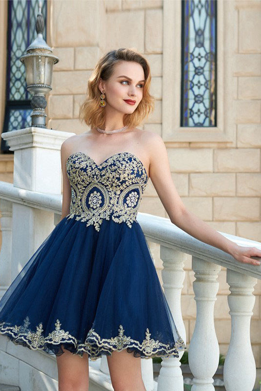 A-line/Princess Strapless Sweetheart Beading Short Formal Prom ...