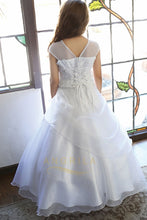 Ball Gown Tulle Illusion Long Tiered Flower Girl Dresses with Cap Sleeves
