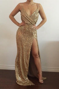 Noble Sheath/Column Spaghetti Straps V-neck Split Front Long Sequined Prom Dresses