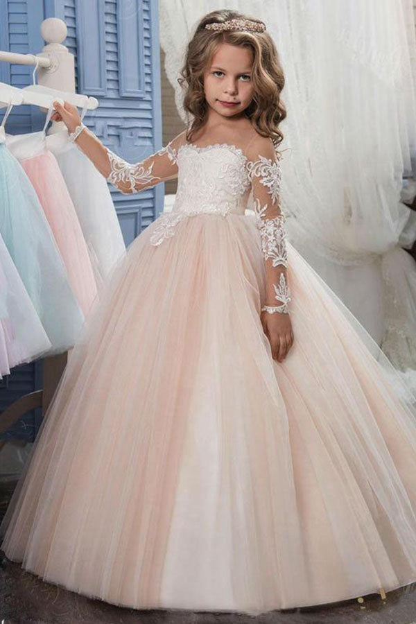 Ball Gown Long Sleeves Lace Embroidered Off-the-Shoulder Flower Girl Dresses