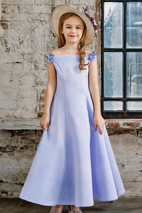 A-line Off-the-Shoulder Satin Junior Flower Girl Dresses