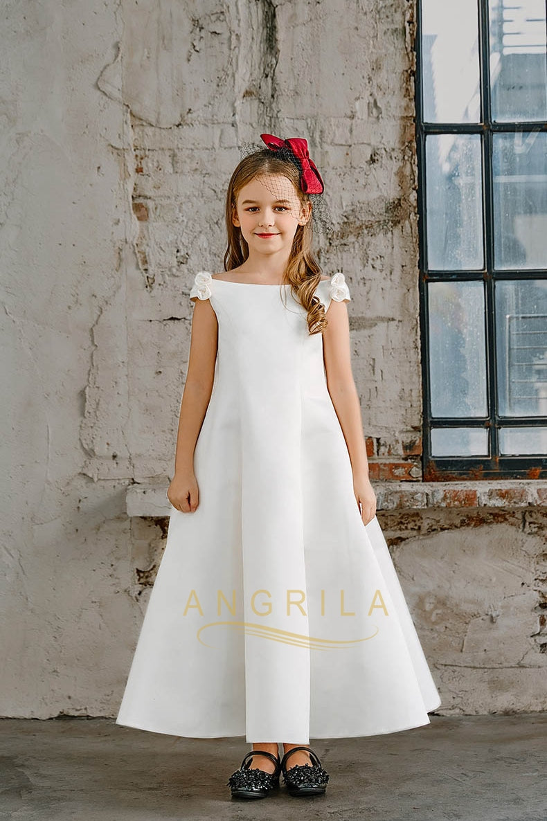 A Line Off The Shoulder Satin Junior Flower Girl Dresses Angrila