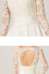 A-line Long Sleeves Illusion Neckline Bridal Wedding Dresses with Lace Appliques