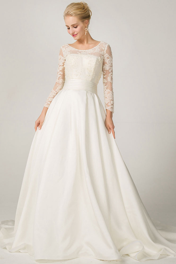 A Line Long Sleeves Illusion Neckline Bridal Wedding Dresses With
