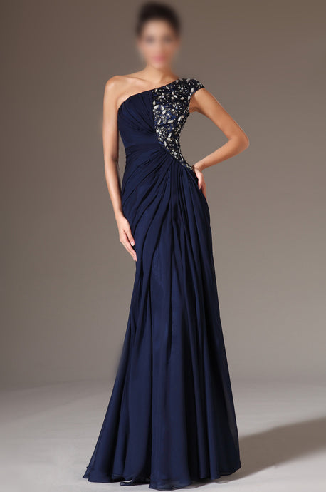 A-line One-Shoulder Beading Pleated Floor-length Evening Dresses
