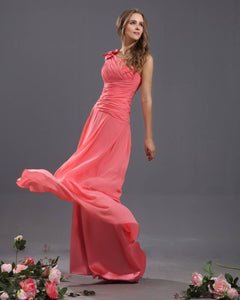 A Line One-shoulder Handmade Flower Chiffon Pleated Long Bridesmaid Dresses