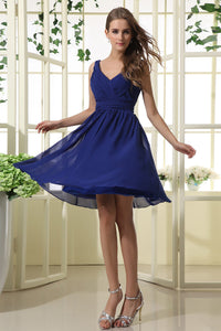 A Line V-neck & V-back Pleated Knee-length Chiffon Bridesmaid Dresses