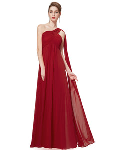 One-shoulder Sash Pleated Long Chiffon Bridesmaid Dress