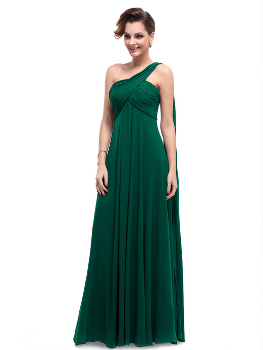 A-line  One-shoulder Empire Pleated Long Chiffon Bridesmaid Dress
