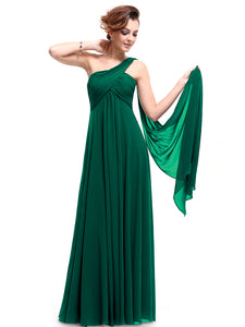 One-shoulder Empire Pleated Long Chiffon Bridesmaid Dress