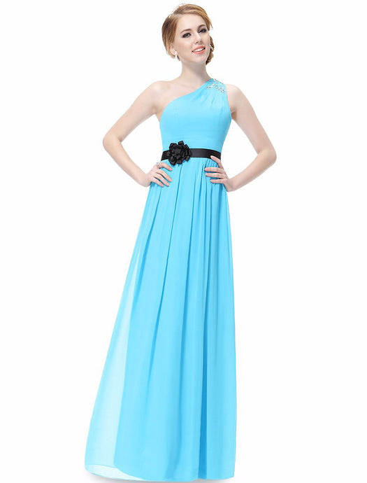 Graceful Flower Sash A-line One-shoulder Beading Long Bridesmaid Dress