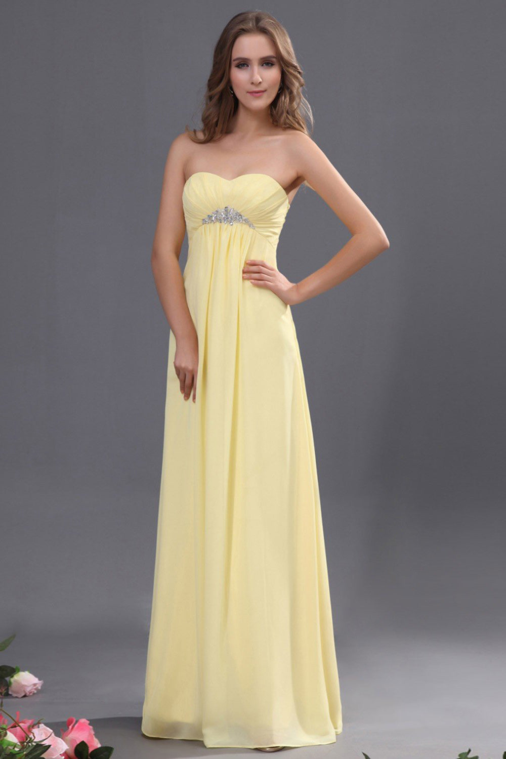 A-line Empire Strapless Sweetheart Beading Long Chiffon Formal Dresses