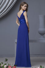 Royal Blue A-line V-neck Sleeveless Long Chiffon Bridesmaid Dresses