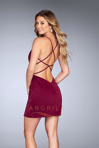 Sexy Sheath/Column V-Neck Short Formal Cocktail Dresses with Spaghetti Straps