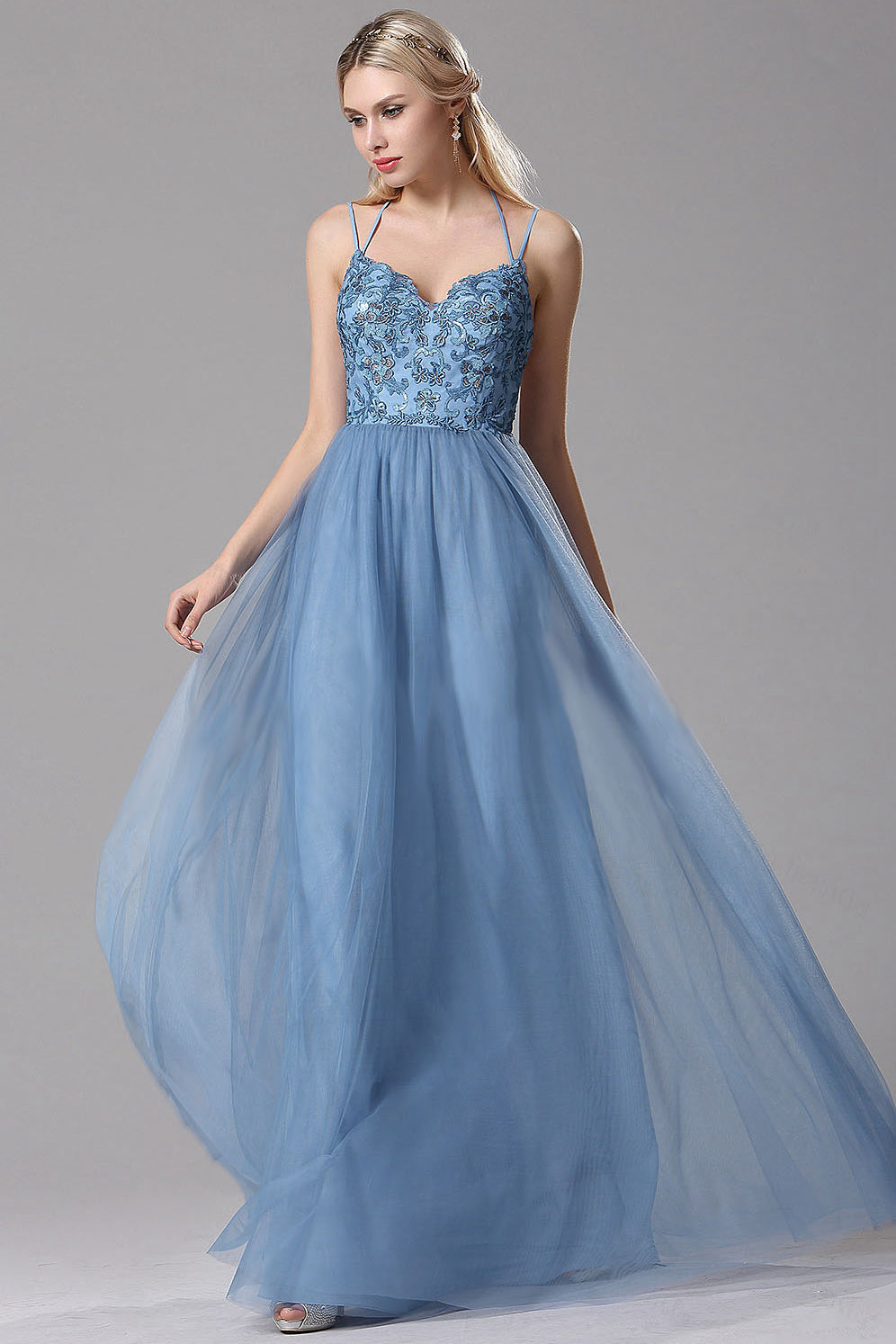 A-Line Sky Blue Lace Tulle Long Prom Dresses with Floral Lace and Spaghetti Straps