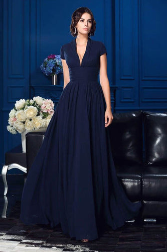 A-Line Chiffon Deep V-Neck Mother of the Bride Dresses with Short Sleeves