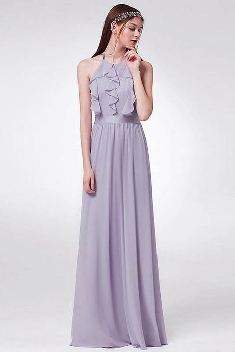 Sleek Chiffon Halter Neckline Backless Bridesmaid Dresses with Ruffles