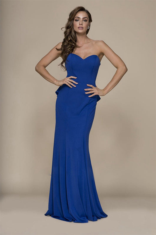 Long Sheath/Column Strapless Sweetheart Formal Prom Dresses with Ruffles