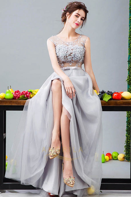 Long Handmade Flower Sleeveless Evening Dresses with Belt