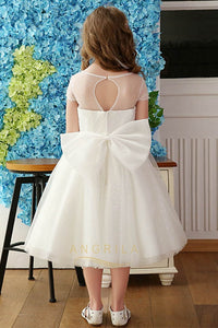 A-line/Princess Short Sleeves Tulle Flower Girl Dresses with Bow