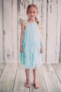A-line/Princess Halter Mesh Waterfall Tea-length Flower Girl Dresses